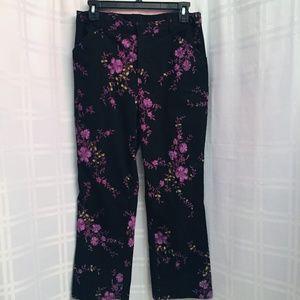 Vintage Black Stretch Floral Purple Flowers Pants